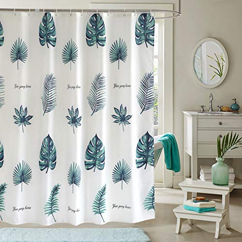 JRing Shower Curtain Polyester Fabric Machine Washable with 12 Hooks 72x72 Inch (Greenleaf)