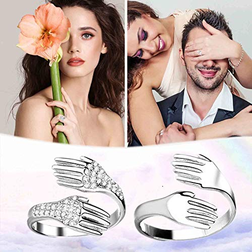 MMOOVV Couple Hug Hand Rings, Give Me A Hug Ring Adjustable Silver Open Ring for Couple Jewelry, Party Jewelry (2pc- Micro inlaid Hao stone + smooth surface)