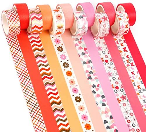 YUBX Gold Pink Washi Tape Set de ruban adhésif décoratif VSCO pour travaux manuels, journaux Bullet Journals, planificateurs, scrapbooking, emballage (Pink Tone)