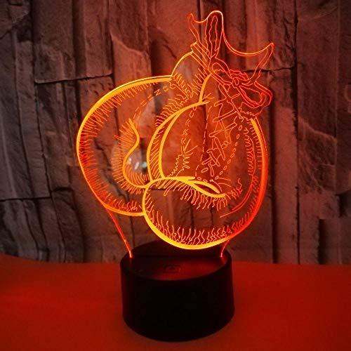 WULDOP 3D Nachtlicht Boxen Handschuhe Sanda Dekoration Lampe Für Schlafzimmer 7 Farbwechselnde Party Festival Freunde Nachtlicht Dekoration Lampe Für Schlafzimmer Zimmer Party Festival