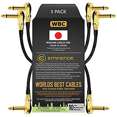 3 Units -Mogami 2319-15 cm (6 Inch) -Instrument Effects Patch Cable With Gold Plated, Low-Profile, Right Angled Pancake Type TS (6.35mm) Connectors