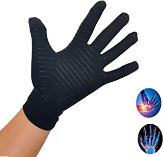 Copper Infused Compression Gloves Full Finger Arthritis Glove for Computer Typing and Everyday Support, Touch Screen Copper Arthritis Gloves Non-Slip Silicone Gel for Women/Men (Medium)
