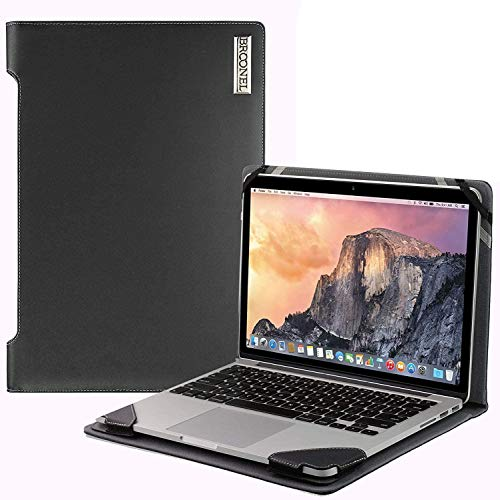 Broonel - Profile Series - Black Leather Laptop Case - Compatible with The HP Chromebook X360 14' Convertible 2-in-1 Touchscreen Laptop