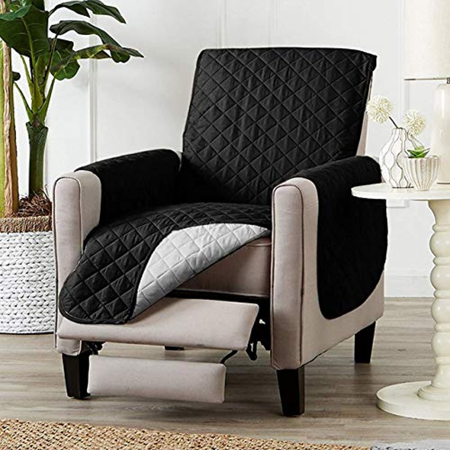 Solid color Couch Sofa Cover Washable Removable Towel Recliner Couch Covers Slipcovers Dog cat Pets Single Two Three Seat   Black, One Seat