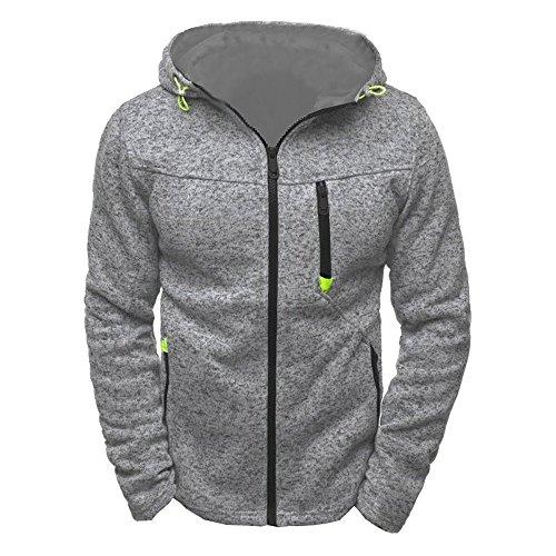Herren Zip Hoody Reißverschluss Fleece Sport Fitness Training Sweatshirt Kapuzenpullover Langarmshirt Pullover Sweats Pulli SANFASHION