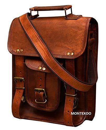 Vintage Leather Handmade Tablet Satchel Bag Messenger Bag for Professional Use (Brown) (Medium)