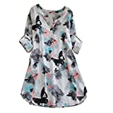 Startview Womens Full Sleeve Butterfly Print Casual Beach Dresses