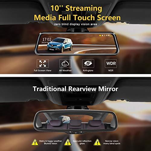 10  Spiegel Dashcam, 1080P rückspiegel dashcam Spiegel FHD Nachtsicht Voll-Touchscreen Vorder- und Rückansicht Rückfahrkamera für Autos Loop-Aufnahme Streaming-Medien 170 ° mit 10-Meter-Kabel