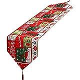 Camino de Mesa de Navidad Mantel Decorativo de Lino con Borlas para Decoración de Hogar de Fiesta de Cena de Navidad (Estilo 2)