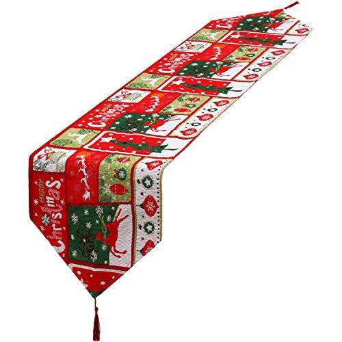 Camino de Mesa de Navidad Mantel Decorativo de Lino con Borlas para Decoración de Hogar de Fiesta de Cena de...