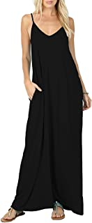 Women's Summer Casual Plain Flowy Swimwear Cover Up Loose Beach Cami Maxi Dresses with Pockets