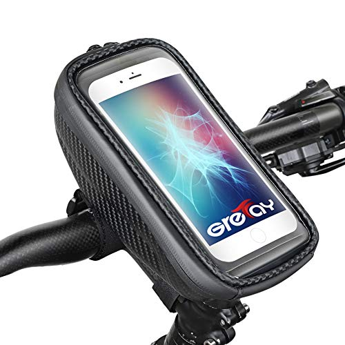 "Grefay Bolsa impermeable para manillar de bicicleta, soporte rígido para móvil con pantalla táctil para teléfono inteligente, navegación GPS y otros(se adapta a dispositivos de hasta 6.5"")"