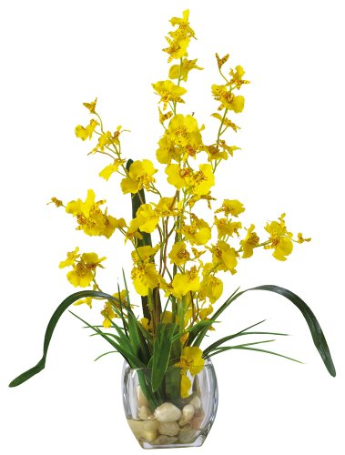 """Nearly Natural 1119-YL Dancing Lady Orchid Liquid Illusion Silk Flower Arrangement, Yellow,30"""" x 9"""" x 7.5"""""""