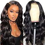 Peluca delantera de encaje cabello natural onda del cuerpo brasileño peluca de encaje rizado cabello humano peluca de mujer natural real 24 pulgadas (60 cm)