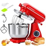 PHISINIC Stand Mixer, 800W 6.5QT Household Stand Mixers, 6 Speed Tilt-Head Food Dough Mixer, Kitchen Electric Stand Mixer with Dough Hook/Wire Whip/Beater, for Butter, Cream, Meringue, Cookie (Red)