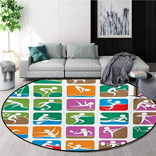Check Out This RUGSMAT Olympics Non Slip Round Rugs,Pictograms of The Summer Sports Sailing Wrestlin...