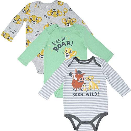 Disney Lion King Baby Boys 3 Pack Long Sleeve Bodysuits Green/White/Gray 6-9 Months