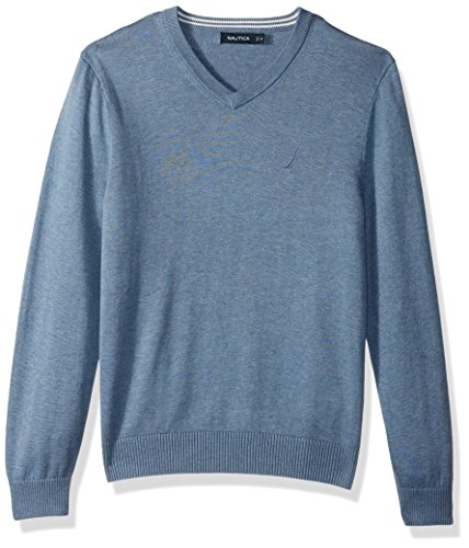 Nautica Men's Standard Long Sleeve Solid Classic V-Neck Sweater, Deep Anchor Heather, Small