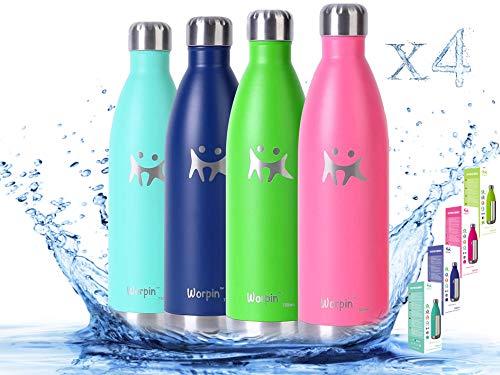 WORPIN, 4 Botellas TERMO de Agua de Acero Inoxidable. Térmica Doble pared aislante, Fácil de Limpiar Camping, Deportes Colegio