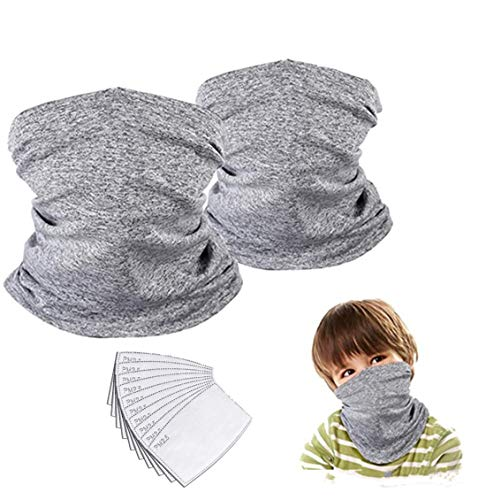 Kids Neck Gaiter Face Mask Bandana with Filter Tube Scarf Balaclava Face Cover for Boys Girls Outdoor Sport (Grey 2 Pack Child)