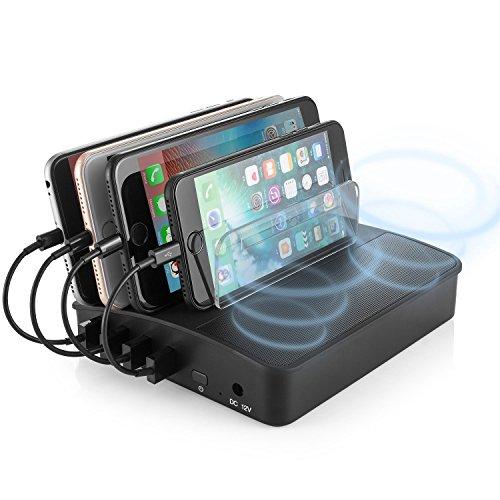 Likisme USB Charging Station 4Ports Stand, Bluetooth Speaker, Detachable Universal Charger Desktop Dock Station
