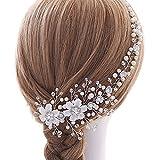 Nupcial Tocado Diademas de Pelo Flor Boda Cabello Vid Accesorios Silver Pearl Headpiece Para Mujeres y Niñas Boda Fiesta Velada