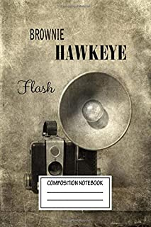 Composition Notebook: Vintage Posters Vintage Brownie With Flash Vintage Cameras Wide Ruled Note Book, Diary, Planner, Journal for Writing