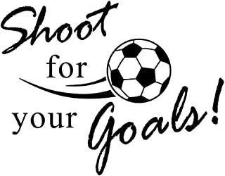 BooDecal Shoot for Your Goals Football Soccer Poster Quotes Wall Decals Stickers for Baby Boys Birthday Gifts Kids Playroom 31.5 inches x 24 inches