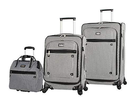 Nicole Miller 3 Pcs Softside Luggage Collection - Expandable Lightweight Suitcase Set Includes 15 Inch Under Seat Bag, 20 Inch Carry On & 28 Inch Suitcase with Spinner Wheels (Black/White Plaid)
