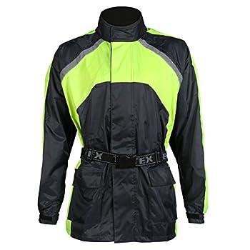 Veste de moto pour la pluie - imperméable - bandes réfléchissantes/haute visibilité - noir - 5XL - 137cm