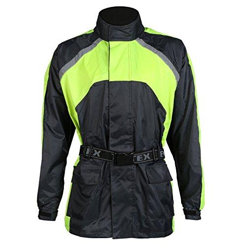 Texpeed - Motorrad-Regenjacke - Wasserdicht & Elastisch - Schwarz/Warnfarbe - 5XL - 137.16cm