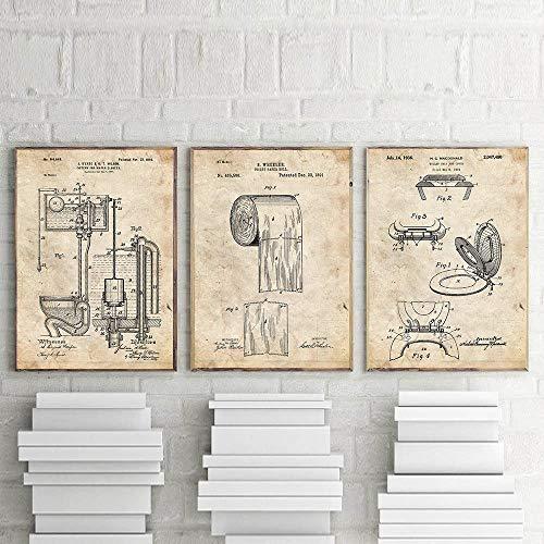 Toilette Design Toilettensitz Leinwand Poster Toilettenpapier Patent Vintage Poster und Drucke Blaupause Wandbilder für Badezimmer
