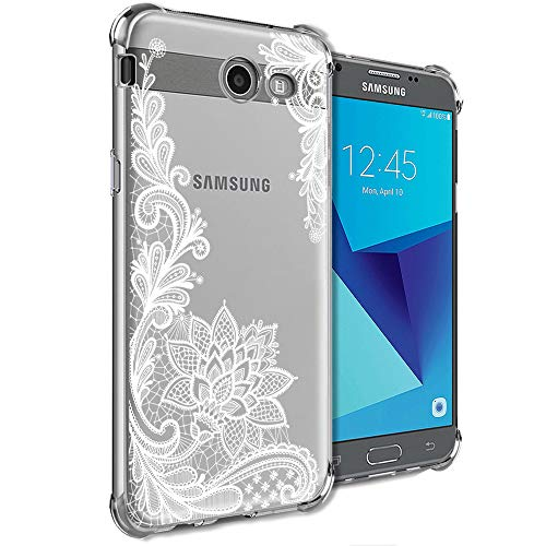 Girly Case for Samsung Galaxy J7 Perx, J7 Prime, J7 Sky Pro, J7 V, Galaxy J7 2017 Clear with Lace Flowers Design Shockproof Bumper Protective Cell Phone Cases for Girls N Women Soft Floral Cover
