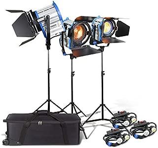 Alumotech 650Watt+2X1000Watt+Dimmers+Stands 2650Watt Fresnel Tungsten Spotlight Halogen Lamp Studio Video Light Kit Air Cushioned Stands For Camera Lighting Compatible Bulb