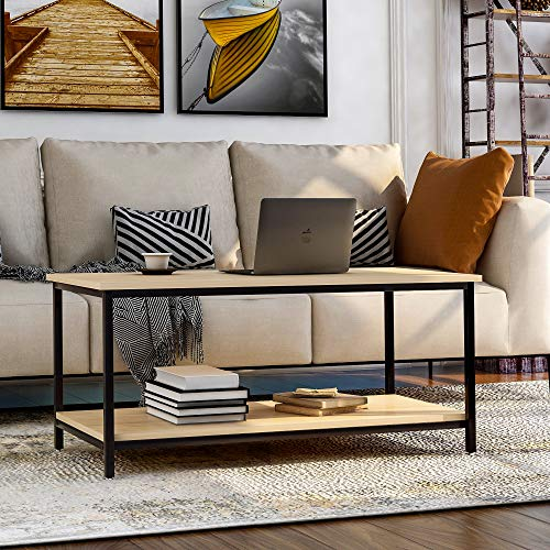 WGYDREAM End Table Simple Coffee Table Rectangular Side Table Living Room Table With Metal Sturdy Frame And Large Storage Shelf For Office Bedroom