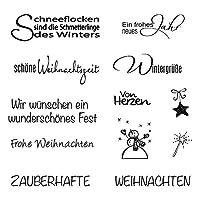 1 Blatt Clearstamps Set mit 12 Stempeln von ca. 1 - 4,5 cm, Weihnachtsmotive, Weihnachtstexte Wintermotive Schneemann/Sterne ca. 1-2 cm, Weihnachtstexte ca. 4,5 cm breit, Höhe ca. 0,5 - 1,5 cm Exakt gearbeitete Umrisse ergeben auch bei kleinsten Moti...