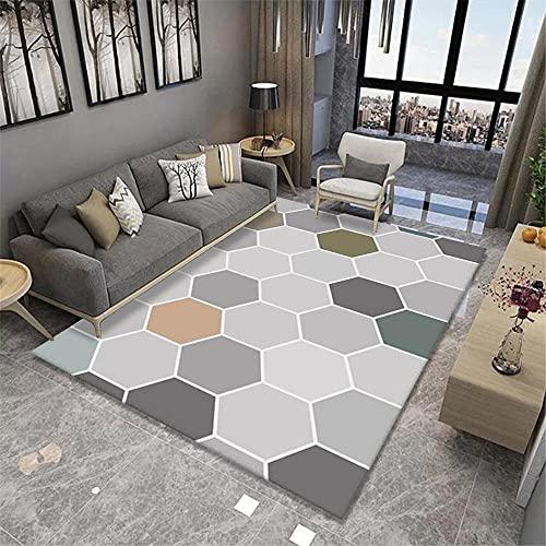 La Alfombra alfombras habitacion Juvenil Amarillo Azul Gris Polígono geométrico Patrón Super Suave Alfombra aspiradora Alfombra alfombras Juveniles para Dormitorio 120*170cm