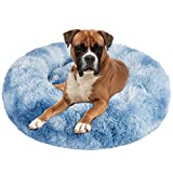 JOEJOY Dog Bed Cat Bed, Calming Orthopedic Pet Puppy Bed Donut Cuddler Machine Washable Ultra Soft Faux Fur for Small Medium Breed Dogs Cats (30inch for pet up to 45lb, Blue)
