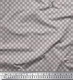 Soimoi Grau Poly Krepp Stoff Fischgräte Hemdenstoff Stoff