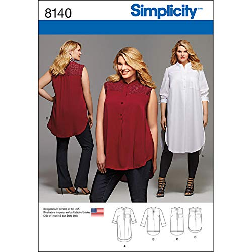 Simplicity 8140 Women's Plus Size Tunic Sewing Pattern, Sizes 26W-32W
