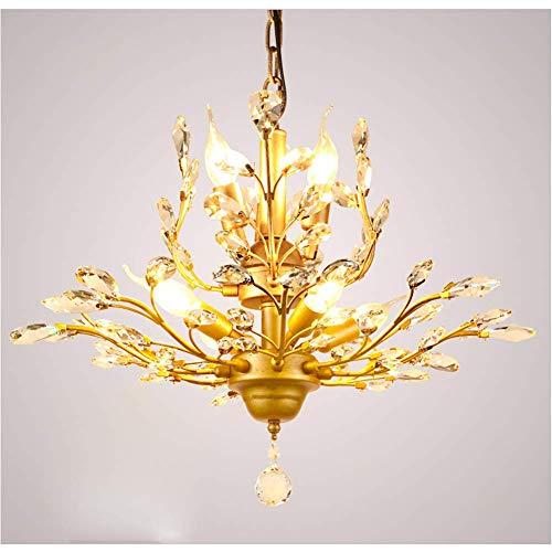 ZEFENG Lámparas exquisitas Personalizadas Araña barroca, Moderno Techo Ligero k9 Sala de Estar de Cristal luz 8-luz E14 Colgante esférico iluminación Interior-Dorado 8 (Color : Golden 7)