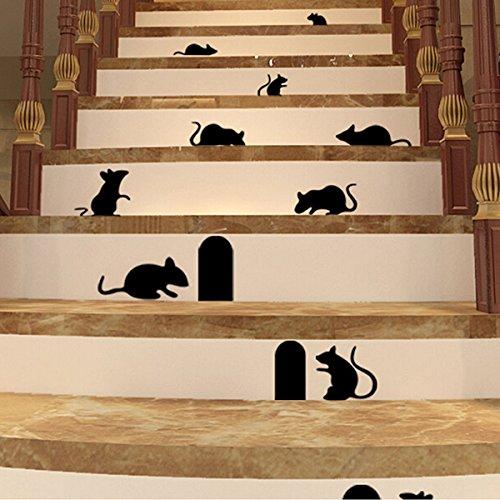 Bluelover Autocollants Autocollant Maison Décoration Murale Art De Souris Rats Souris Et Trous Noirs
