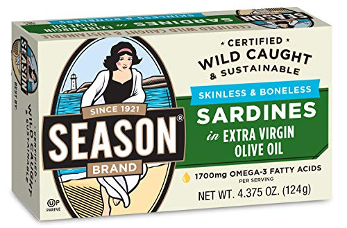 professional Season sardines without skin and bone with 4.375 ounces. Pure olive oil. 12 pieces