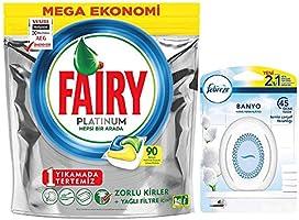 Fairy Platinum 90 Yıkama Bulaşık Makinesi Deterjanı Kapsülü + Febreze Hava Ferahlatıcı Banyo Oda Kokusu 300 ml Temiz...