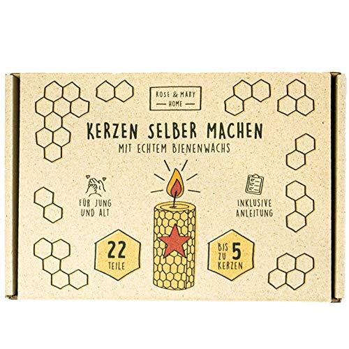 ROSE & MARY® Kerzen selber Machen - Für mindestens 5 Kerzen | Mit 100% reinem Bienenwachs aus Deutschland | Perfekt für Kinder & Familie inkl. Ausstechformen und Anleitung