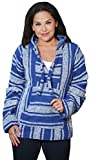 Classic Mexican Baja Hoodie Pullover Poncho (Royal Blue XL)