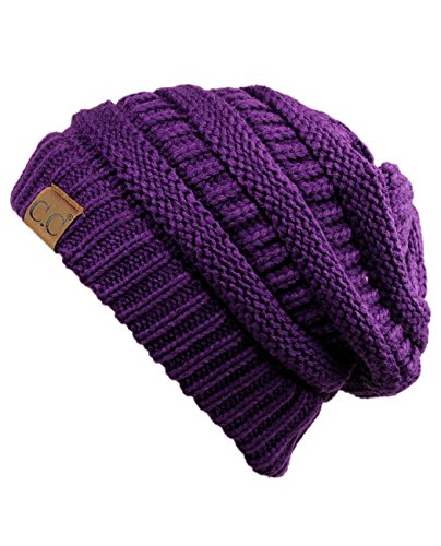 C.C Trendy Warm Chunky Soft Stretch Cable Knit Beanie Skully, Deep Purple,One Size