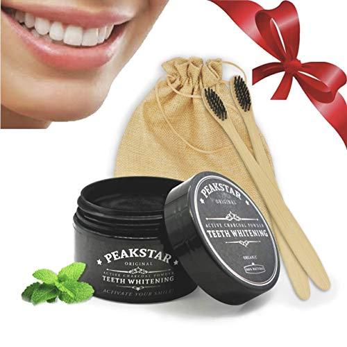 PeakStar Carbone Attivo Sbiancante per Denti 100% Naturale | PREMIUM Active Charcoal Teeth Whitening | Kit 1+1 Spazzolino Bamboo Omaggio + Polvere di Cocco 30g + Confezione Regalo Eco Vegan Friendly