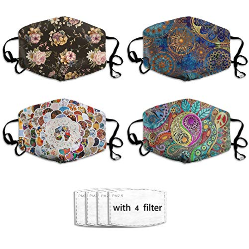 4PCS Boho Chic Flowers Face-Mask, Bohemian Face Cover with Filters, Washable Bandanas Balaclava for Sport, Travel