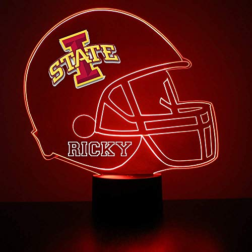 Mirror Magic Store Football Helmet LED Light/Lamp with Free Personalization - Features Licensed Decal and Remote (Iowa State Cyclones)